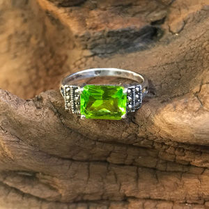 Sterling Silver Peridot Ring [050]